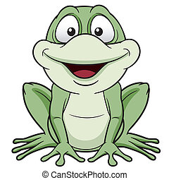Green frog - Vector illustration of Cartoon green frog