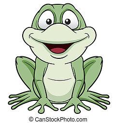 Green frog - Vector illustration of Cartoon green frog