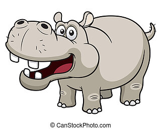 Hippopotamus - illustration of Cartoon Hippopotamus