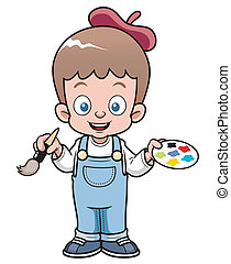 Artist boy - illustration of Cartoon artist boy