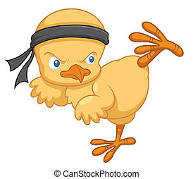 Cartoon chick - Vector illustration of Cartoon chick karate...