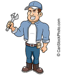 Cartoon mechanic - illustration of Cartoon mechanic holding...