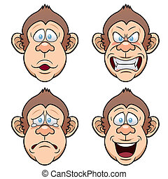 Face Monkeys - Vector illustration of Cartoon Face Monkeys