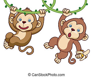 Cartoon Monkey - Vector Illustration of Cartoon Monkey