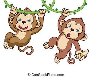 Cartoon Monkey - Vector Illustration of Cartoon Monkey