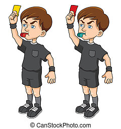 Soccer referees - Vector illustration of Cartoon Soccer...