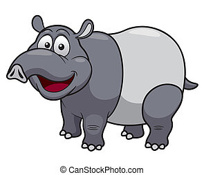 cartoon tapir - Vector illustration of cartoon tapir