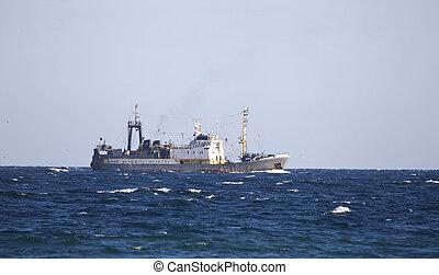 Fishing trawler. - Fishing trawler on the water of Black sea...