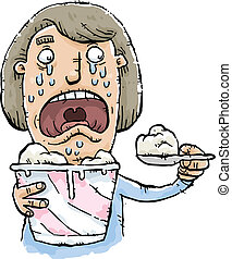 Ice Cream Comfort - A sad cartoon woman comforts herself by...