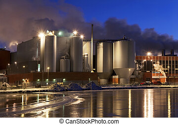 Paper Mill - Paper mill by winter night immediately after...