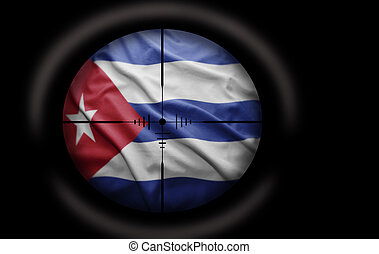 Cuban Target - Sniper scope aimed at the Cuban flag