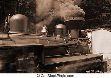 Full steam ahead - Vitage steam powered locomotive with...