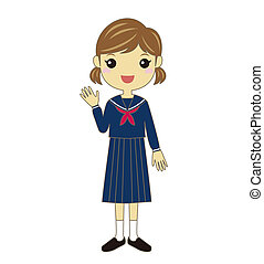 A student wearing school uniform - A waving female student...