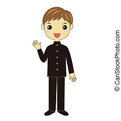 A student wearing school uniform - A waving male student...