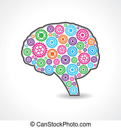 creative mind with colorful gears - creative mind or brain...