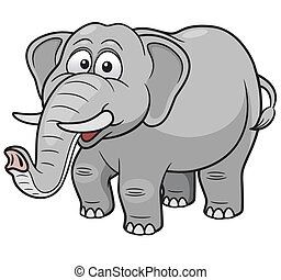Cartoon Elephant - Vector illustration of Cartoon Elephant