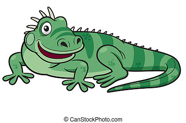 Cartoon green iguana - Vector illustration of Cartoon green...
