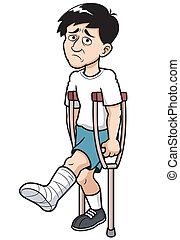 Man - Vector illustration of Man with a broken leg
