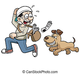 Thief running - Vector illustration of thief running a dog