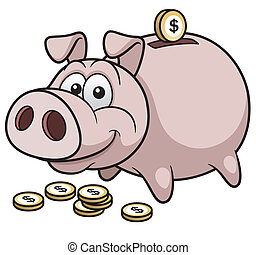 Piggy Bank - Vector illustration of Happy Piggy Bank