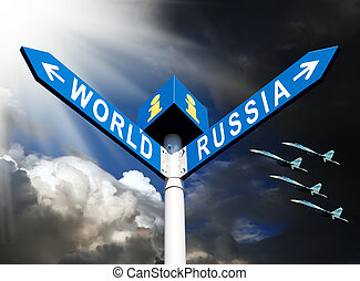 Militaristic Russia against the world - Political metaphor....