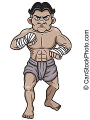 Thai Boxing - Vector Illustration of Thai Boxing