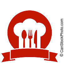 icon with ribbon chef hat and utensil - red restaurant icon...