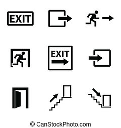 Vector black exit icons set on white background