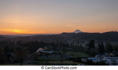 Sunrise over Oregon Cascade Range in Happy Valley City Time...
