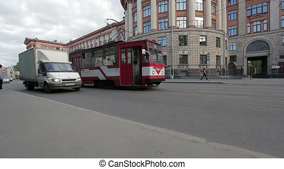 Urban transport - tram, passengers exit from tramway
