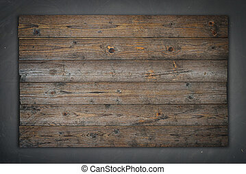 Empty wooden sign, concrete wall background texture
