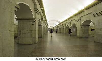 Subway station Krestovsky Ostrov, Saint Petersburg Metro,...