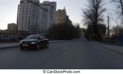 driving fast - Time lapse of a car driving in the city