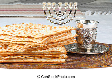 Matzah - Closeup of Matzah on Plate which is the unleavened...