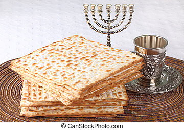 matzo - Closeup of Matzah on Plate which is the unleavened...