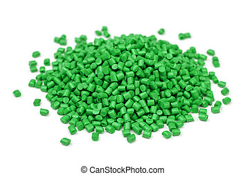 Polymer granules - Pile of green polymer granules isolated...