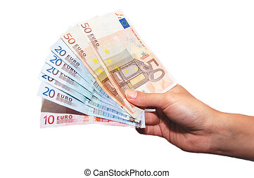 European Union banknotes in hands