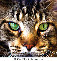 Close up face of Maine Coon Vector - Close up face of Maine...