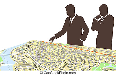 City planners - Editable vector illustration of two men...