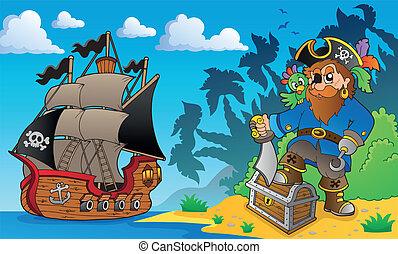 Pirate on coast theme 2