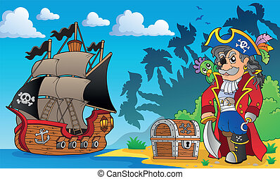 Pirate on coast theme 3 - eps10 vector illustration