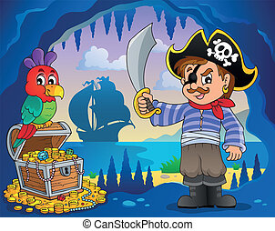 Pirate cove topic image 2 - eps10 vector illustration.