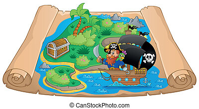 Pirate map theme image 2 - eps10 vector illustration