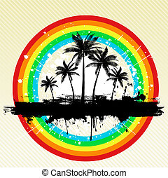 grunge palm trees - Palm trees on grunge rainbow background