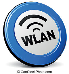 Vector wlan 3d icon - Vector illustration of wlan 3d blue...