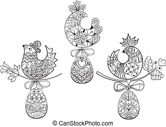 Coloring pages with symbols of Easter chick egg - line...