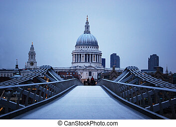 St Paul\'s Cathedral and Millenium Bridge in London at...