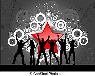 party time - Silhouettes of people dancing on abstract star...