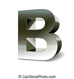 3d silver steel letter B isolated white background