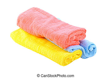 napkins - Rolled multicolored napkins on white